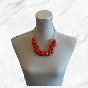 Chunky Red Beaded Statement Necklace